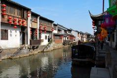 Старый взгляд улицы городка, Сучжоу, Китай Стоковое фото RF