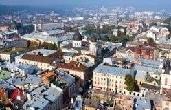 Старый взгляд городка, Львов Стоковое Изображение