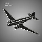 Старый винтажный авиалайнер двигателя поршеня Легендарная ретро иллюстрация вектора воздушных судн Стоковые Фото