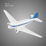 Старый винтажный авиалайнер двигателя поршеня Легендарная ретро иллюстрация вектора воздушных судн Стоковое Изображение