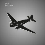 Старый винтажный авиалайнер двигателя поршеня Легендарная ретро иллюстрация вектора воздушных судн Стоковые Изображения RF