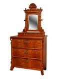 Старый винтажный античный комод ящиков, с зеркалом Стоковое Фото