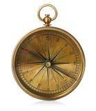 Старый винтажный латунный компас изолированный на белой предпосылке Стоковая Фотография RF