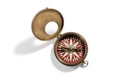 Старый винтажный латунный портативный компас руки Стоковое Изображение