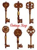 Старый винтажный вектор ключей металла изолировал установленные значки Стоковые Изображения