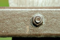 Старый винт с краской на конце загородки металла вверх по селективному фокусу Стоковое Изображение