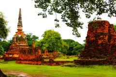 Старый висок кирпича в Ayutthaya Стоковое фото RF