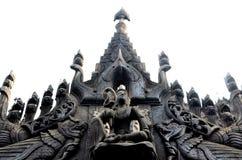 Старый висок teak на Мандалае Стоковое Фото