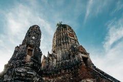 Старый висок Wat Chai Wattanaram Ayutthaya в Таиланде стоковое изображение