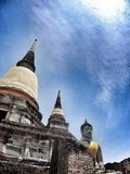 старый висок Wat Yai Chai Mongkhon Ayuthaya, Таиланда Стоковые Фотографии RF