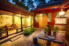 Старый двор в Hutongs Пекина Стоковые Изображения