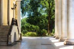 Старый двор с белыми столбцами и большим зеленым садом Стоковые Фото