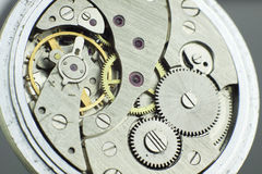 Старый всход макроса механизма карманного вахты внутренний стоковые изображения