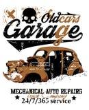 Старый гараж автомобиля иллюстрация вектора