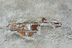 Старый гипсовый цемент и старый красный кирпич Стоковое Изображение