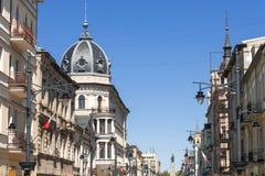 Старый городок в Лодзе Улица Piotrkowska Стоковое фото RF