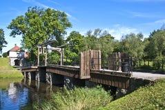 Старый городок в fredrikstad (footbridge) Стоковое Изображение RF