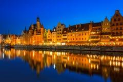 Старый городок Гданьска на ноче Стоковое Изображение