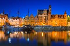 Старый городок Гданьска на ноче Стоковое фото RF
