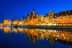 Старый городок Гданьска на ноче Стоковая Фотография