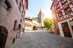 Старый городок города Nurnberg, Германии стоковая фотография rf