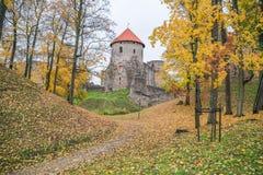 Старый городок, город, парк замка в Cesis, Латвии 2017 Стоковое Изображение