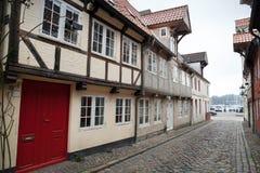старый городок улицы Flensburg, Германия Стоковая Фотография