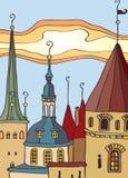 старый городок иллюстрация вектора