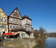 Старый городок Schwaebisch Hall в Германии стоковая фотография rf