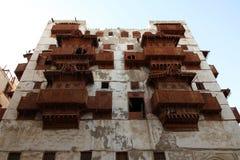 Старый город в Джидде, Саудовская Аравия известная как ` Джидды ` историческое Здания и дороги старых и наследия в Джидде согласо стоковые изображения
