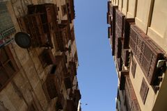 Старый город в Джидде, Саудовская Аравия известная как ` Джидды ` историческое Здания и дороги старых и наследия в Джидде согласо стоковые изображения rf