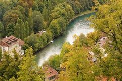 Старый город средневековый центр города Bern, Швейцарии Стоковое фото RF