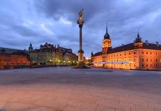 Старый город Варшавы в утре Старый городок, королевский замок Стоковое Изображение
