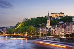 Старый город Лиона на заходе солнца, Франции Стоковое Изображение RF