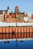 Старый городок взгляда реки Гданьска Стоковое Изображение RF