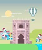 Старый городок в Гранаде, Андалусии, Испании, Европе Плоская иллюстрация Стоковые Изображения