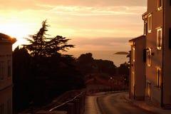 Старый городок в заходе солнца Стоковое Фото