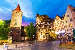 Старый городок в Нюрнберге, Германии Стоковое Изображение