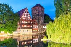 Старый городок в Нюрнберге, Германии Стоковые Фотографии RF