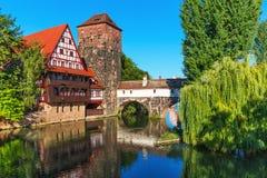 Старый городок в Нюрнберге, Германии Стоковое фото RF