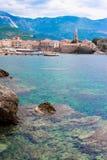 Старый городок в Черногории, море, горах Стоковое Изображение