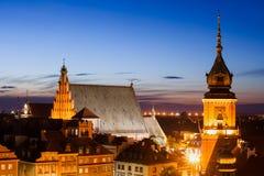 Старый городок горизонта Варшавы Twilight в Польше Стоковые Фотографии RF