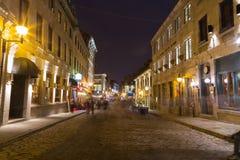 Старый городок Монреаль на ноче Стоковые Изображения RF