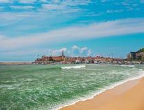 Старый городок около моря стоковое фото rf