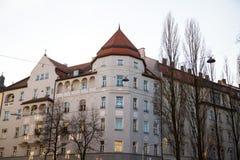Старый городок, старый дом здания в городе Мюнхена, Стоковые Фото