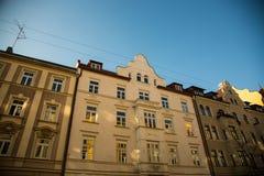 Старый городок, старый дом здания в городе Мюнхена, Sendling Стоковые Фотографии RF