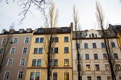 Старый городок, старый дом здания в городе Мюнхена, Sendling Стоковая Фотография RF