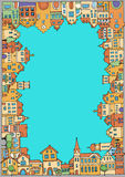 Старый городок с разнообразие домами Стоковые Изображения RF