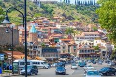 Старый городок Тбилиси в солнечном дне, Georgia, 07 05 2017 Стоковые Изображения