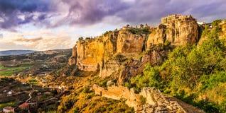 Старый городок Ronda на заходе солнца, Малаги, Андалусии, Испании Стоковая Фотография RF